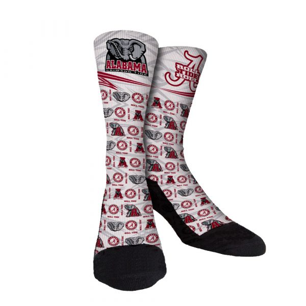 Bama Roll Tide White Custom Socks