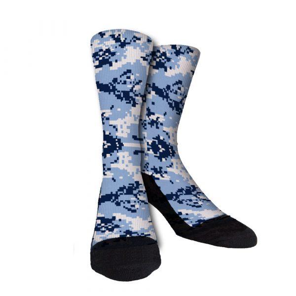 Blue White Digi Camo Custom Crew Socks