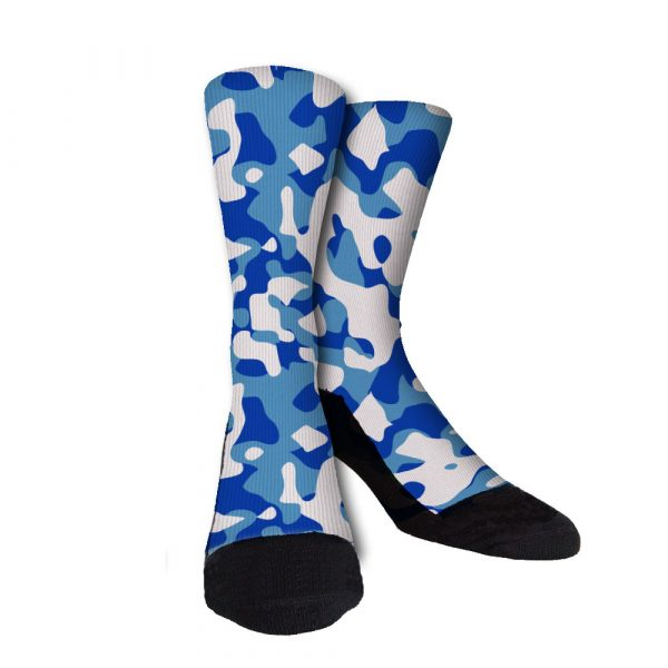 Carolina Blue Camo Custom Crew Socks