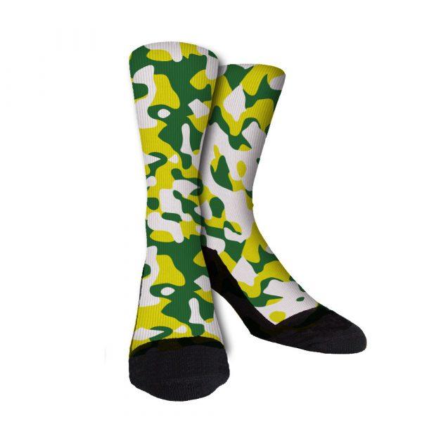 Green Yellow White Camo Socks