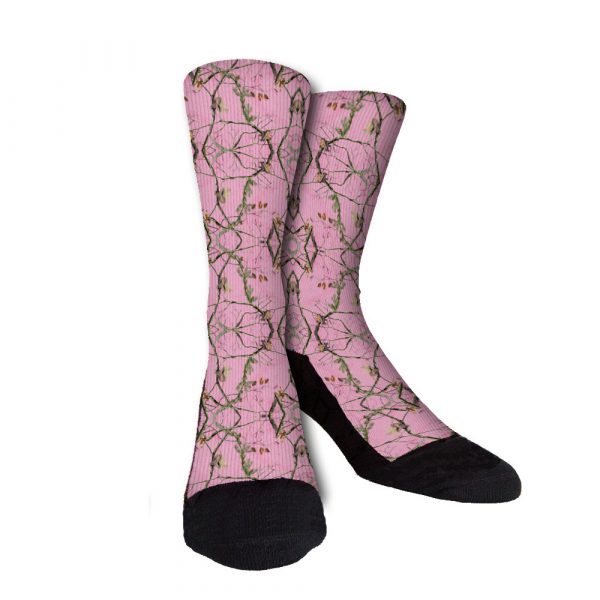 Pink Branches Camo Crew Socks