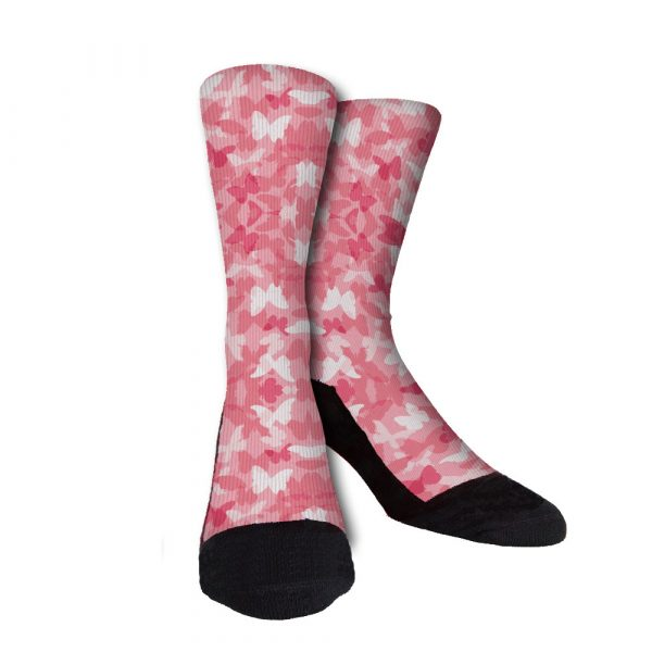 Pink Butterfly Camo Custom Crew Socks