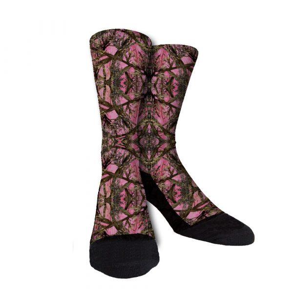 Pink Trees Womens Camo Socks