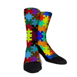 Puzzled Autisim Awareness Custom Socks